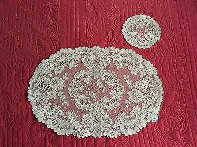 Beautiful Antique NWT 16pc Set French Alencon Lace 8 Placemats 8 Cocktail Rounds
