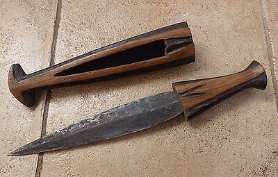 Old African Tribal Ovambo Ovimbundu Fishtail Wooden Sheath Tool No Club Mask Axe