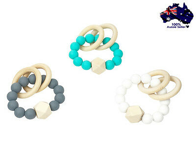Silicone beaded baby teether teething toy with wooden ring BPA Free!