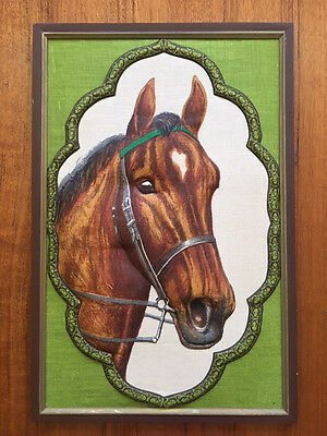 1970's FABRIC HORSE PICTURE PRINT RETRO VINTAGE KITSCH EQUESTRIAN LINEN 3D