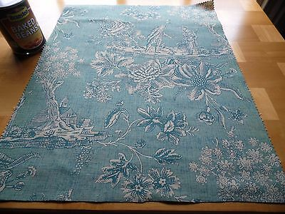 """Authentic Vintage French Jade Green Toile Linen Fabric Sample Remnant 19X16.5"""""""