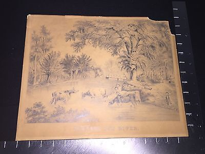 """VINTAGE """"FORDING THE RIVER"""" Made By Sarah Watson Dilworth 1850-60 RARE"""