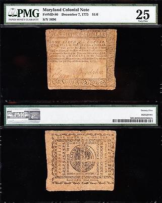 Awesome *RARE* Dec. 7, 1775 Maryland Colonial $1/6 Note! PMG 25! FREE SHIP! 1696