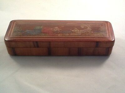 Antique Vintage  Wood Trinket Box  Two Sides Hinged Velvet Interior Asian Rare