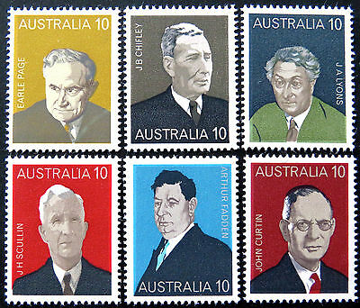 1975 Australian Stamps - Australian Prime Ministers - Set of 6 MNH