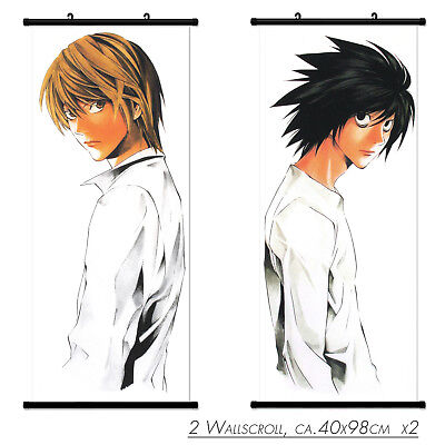 2 PC Wallscroll Death Note L Light Rollbild Kakemono Wandbild Stoff Poster