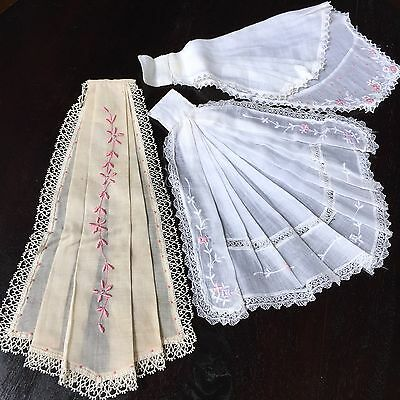 3 Antique Jabot Collar Lot Batiste Embroidered Pink Floral Insertion Lace 1900s