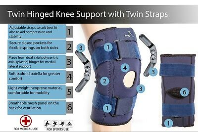 Hinged Knee Arthritis Support Brace Guard Stabilizer Strap Wrap open patella