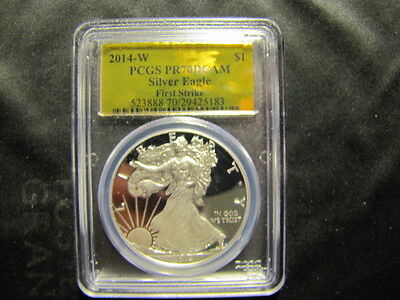 2014 W American Silver Eagle $1 PCGS Proof 70 DCAM First Strike GOLD FOIL LABEL