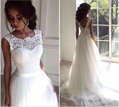 New Lace Tulle White/ivory Wedding dress Bridal Stock size: 6-8-10-12-14-16-18