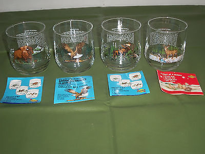 4 Vintage Sunoco American Wildlife Glasses, Eagle, Buffalo, Moose, Whitetail Dee
