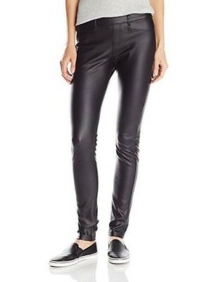 Hue Women's Black Coated Twill Straight Leg Leggings - Size XS- NWT