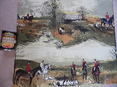 Super Vintage 1950's Fox Hunting Horse Hambledon By Anne Cassey Fabric Remnant 3