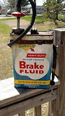 1950s Vintage SUNOCO BRAKE FLUID Old 1 gallon tin Can with pump.