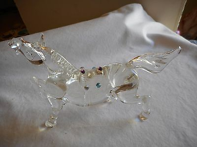 "Vntg. 6-1/2"" Solid Glass Horse--Colored Glass Saddle"
