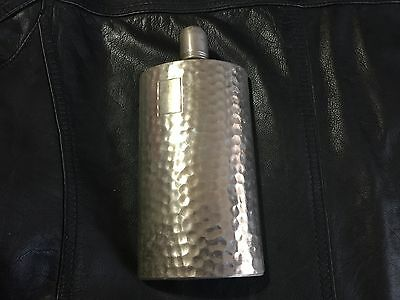 Vintage 12 oz Whiskey Flask Hammered Silverplate Tin-Lined Germany