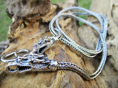 28 Inches 3 mm. 925 Sterling Silver Dragon Head Necklace Biker Jewel Braid Chain