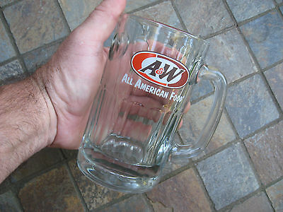"""A&W~ALL AMERICAN FOOD Root Beer Glass Mug 6"""" tall with large D grip handle"""