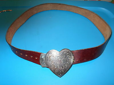 Silver Engraved Heart Shaped Belt Buckle on Leather Belt Women's 35.5 Inches