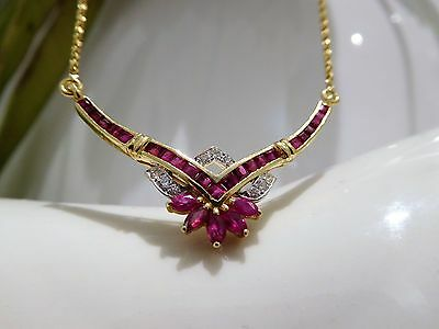 Rubin Diamant Collier, Kette, 750 / 18k Gold