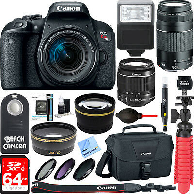 Canon EOS Rebel T7i DSLR Camera EF-S 18-55mm & 75-300mm IS Lens & Accessory Kit