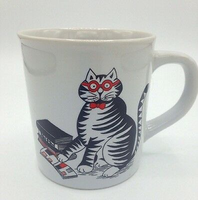 Vintage B Kliban Cat With Books Glasses Coffee Cup