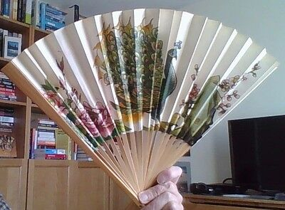 Japanese Wooden Fan with Peacock Design