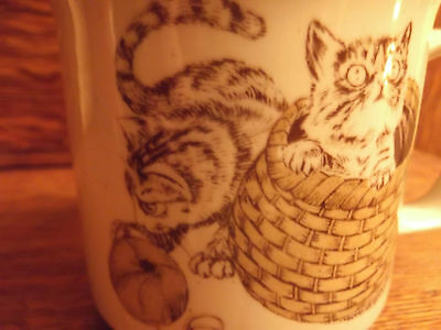 Cute Cat Coffee Mug with Kittens Playing in a Basket of Yarn Kitty Cup