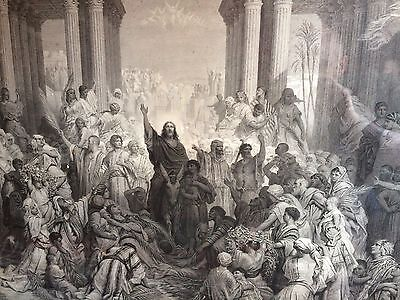 Gustave Dore - Jesus Entering Jerusalem 1882 - Large Engraving Religious Icon