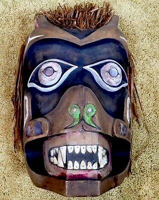 Vintage Rare Native Tribal Pacific Northwest Coast Man Cedar Wood Carved Mask