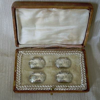 Rare Set Of 4 Sarah Blake C . 1830 . Sterling Silver Condiment Labels In Box
