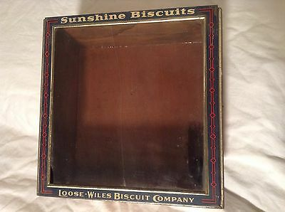 SUNSHINE BISCUITS Wood Display Box Tin/Glass Lid  Loose-Wiles Biscuit Co.