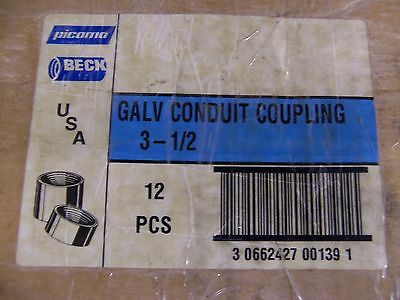 "3-1/2"" Rigid Conduit Threaded Galvanized Coupling Concrete Tight Lot of 2"
