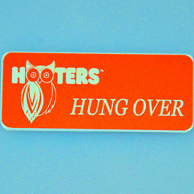 """MINION"" - HOOTERS GIRL UNIFORM ORANGE BARTENDER NAME TAG - excellent condition"