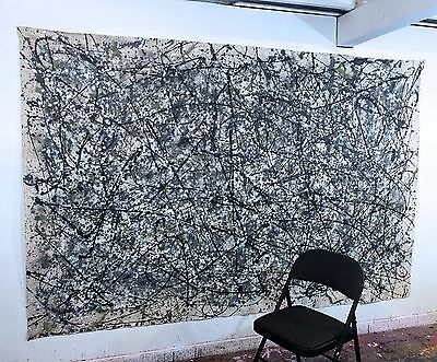 Large Abstract Painting Mid Century Modern Wall Art Contemporary Oil on Canvas
