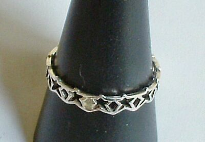 Dainty Lightweight Sterling Silver Chain of Stars Ring Wicca Pagan New Jewellery