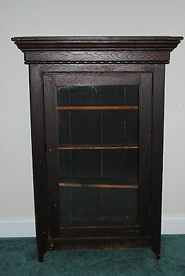 Vintage or Antique Solid Oak Glass Front Cabinet