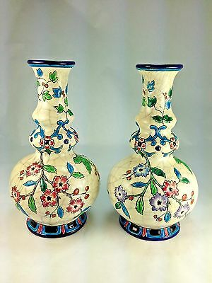 "Vintage Two Twin Art Deco French Emaux de Longwy ""Floral Geometric Vases/Urns"""