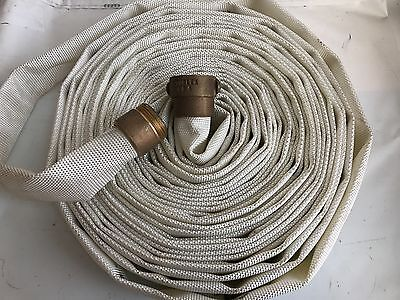 """New National Fire Hose 1.5"""" x 75ft Hose with Brass Fittings FM 75' 250 PSI"""
