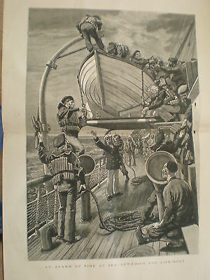 Alarm of fire at sea lowering the lifeboat 1881 print