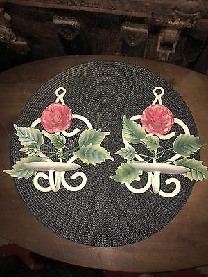 Pink ROSES CHIC ITALIAN TOLE WARE CANDLE HOLDERS SHABBY CHIC METAL  NICE