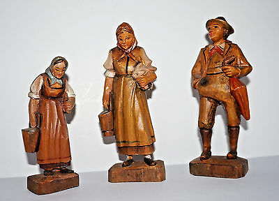3 Carved Wood Figures Jobin of Switzerland #3855 Man W/ Umbrella 2 Farm Women