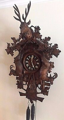 Large Antique Black Forest Rare Hunter Form Case Carved Cuckoo Clock Early 1900s