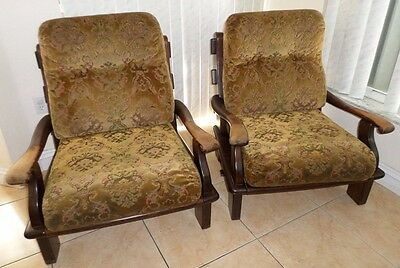 Antique European Solid Tiger Oak Wood Lounge/Arm Chairs (Pair)