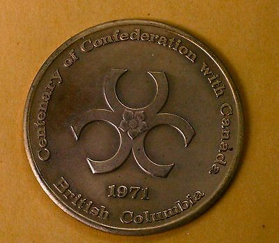 1971 British Columbia ~ Centenary Of Confederation With Canada ~ Token / Medal