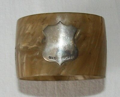 Horn and silver napkin ring. Hallmark Birmingham 1911. Scottish thistle. J.C&S.