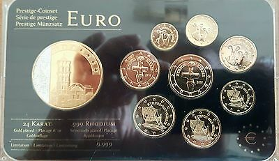 Cyprus: Prestige-Coin Set 2010, With Gold And Rhodium Refined, Uncirculated