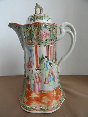 Rare Large Antique Chinese Export Rose Medallion Porcelain Pitcher w/lid, 19th C