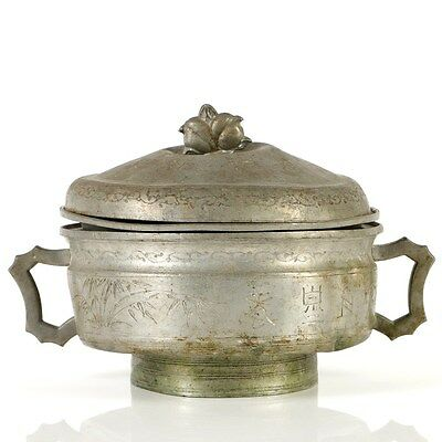 Rare Two Handles Antique Chinese Pewter Lidded Pot with 3 Pieces, Marked, 20th C