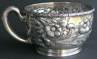 Antique Fuchs & Beiderhase Sterling Silver Floral Repousse J E Caldwell Cup Mug